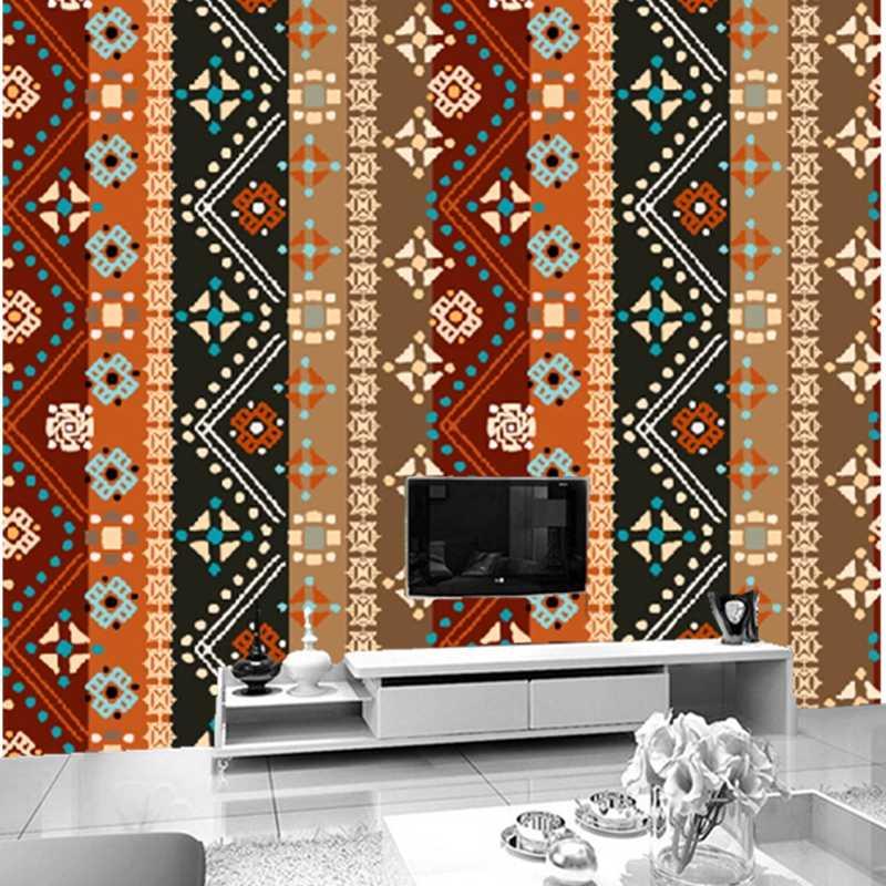 Пользовательские 3D полосатые обои, национальные ветровые наклейки-рисунки на стену для гостиной спальни ТВ фон водонепроницаемый papel де parede