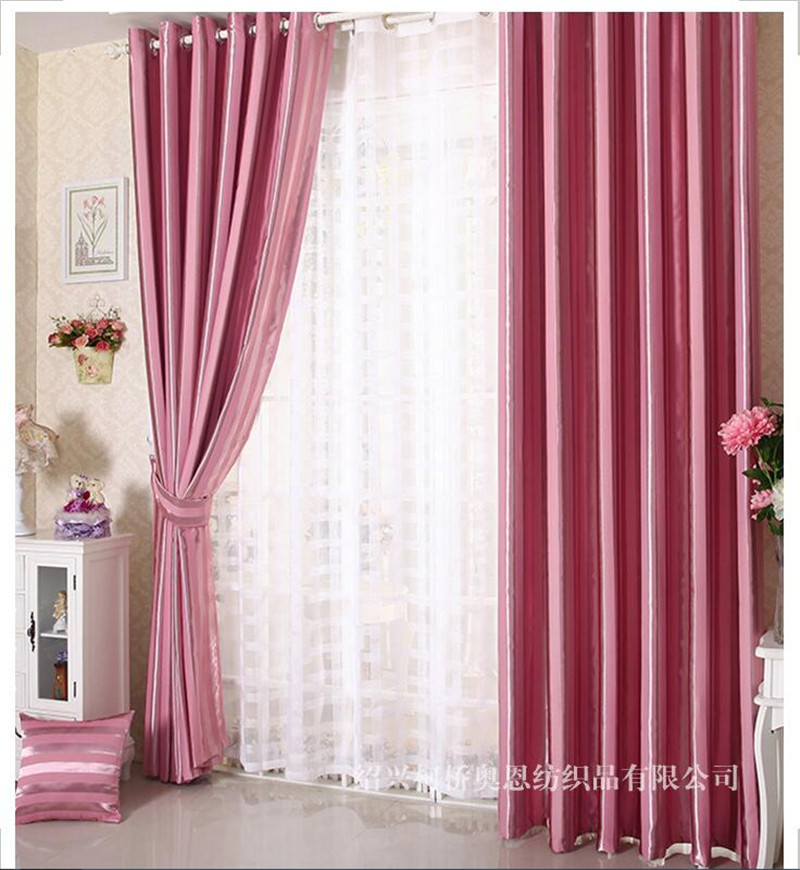 Gold gray Elegant Fashion Vertical Stripe Blackout Window Curtains ...