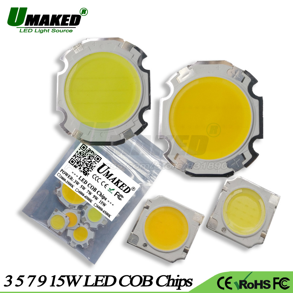 UMAKED 5pcs High Power LED Light Beads 3W 5W 7W 9W 15W Lights Ball Integrated SMD COB diodes for LED Bulb spotlight Ceiling Lamp