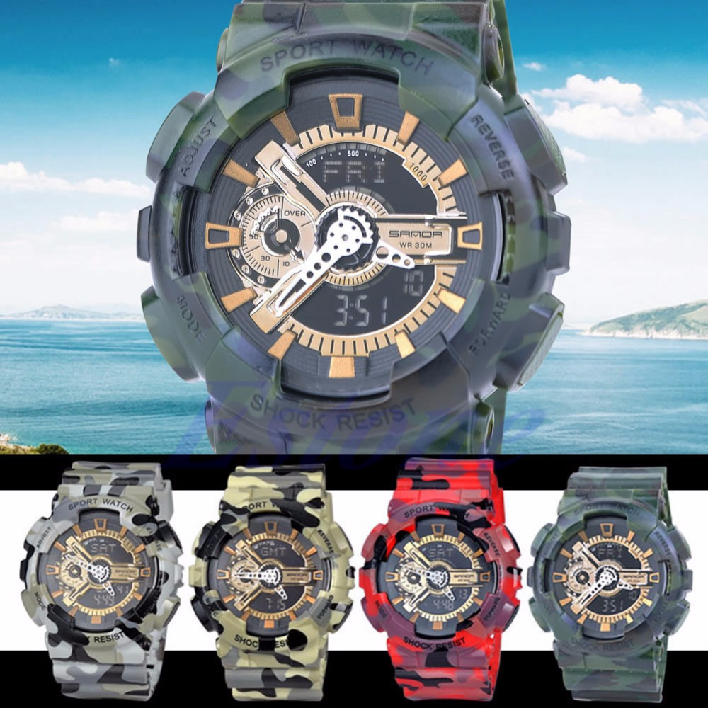 Men 30M Waterproof Army Camouflage Alarm Date Chronograph Sport Military Watch