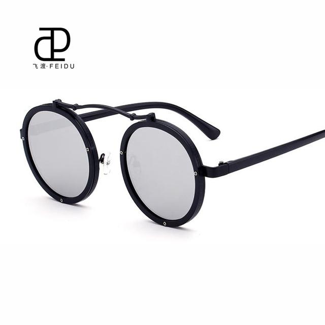 Feidu 2017 revestimento de moda rodada óculos de sol das mulheres marca de design retro espelho Óculos De Sol Para Homens Oculos de sol Feminino Com caixa