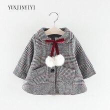все цены на Winter baby girl plaid woolen coat snowproof windbreaker jacket thick warm clothes fashion spring and autumn winter онлайн
