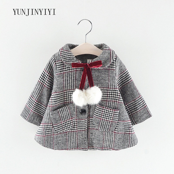 Winter baby girl plaid woolen coat snowproof windbreaker jacket thick warm clothes fashion spring and autumn winter