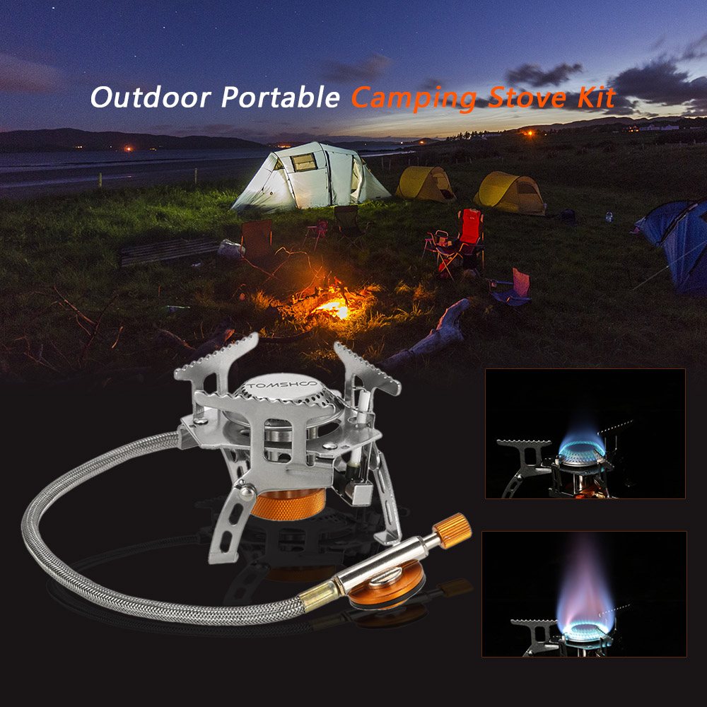 Image 5 - TOMSHOO Outdoor Camping Stove Gas Stove Kit Ultralight Compact Foldable Backpacking Gas Stove with 9 Plate Camp Stove Windscreen-in Outdoor Stoves from Sports & Entertainment