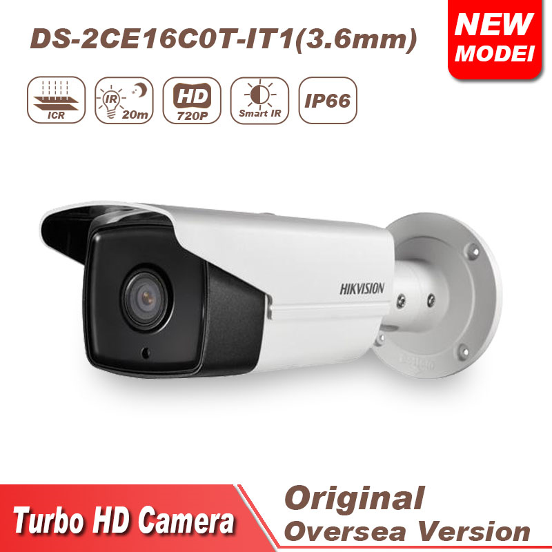 Hikvision cctv camera tvi 720P DS-2CE16C0T-IT1 bulllet IR IP66 hikvision ds 2ce16c0t ir 3 6mm original bullet camera outdoor analog camera ir tvi 720p 1mp