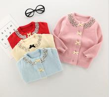 Bow Button Cardigan for girls Long-sleeved Solid Sweater Coat  New Comfort Pattern Weave Thread tightness O-Neck For Kid S0113
