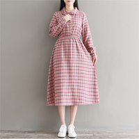 Fall Clothes 2017 New Autumn And Winter Vintage Vestidos Women Peter Pan Collar Full Sleeve Plaid