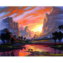 Sunset river diamond Embroidery diy painting mosaic diamant 3d cross stitch pictures H711