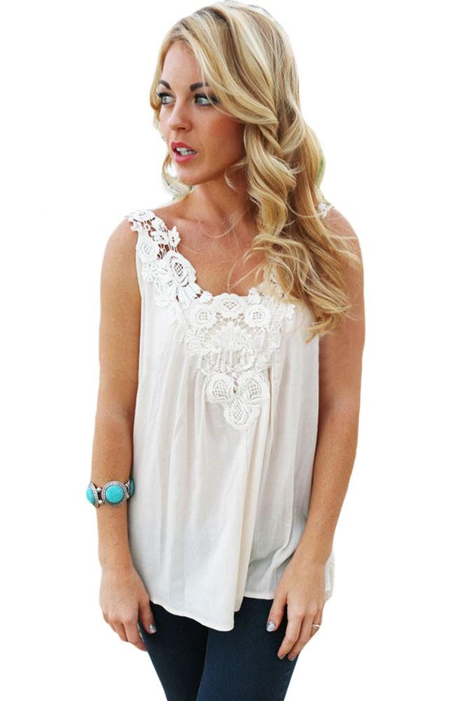 White-Crochet-Lace-Detail-Flowing-Chiffon-Tank-Top-LC25793-1