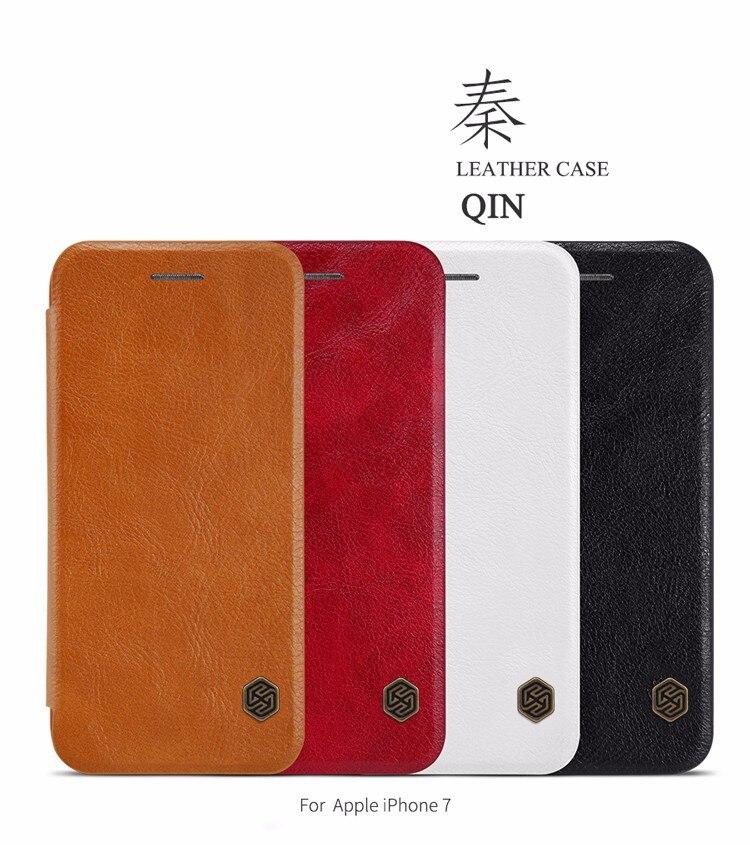10 unids/lote al por mayor NILLKIN Qin Series cartera Flip Funda de cuero para Apple iphone 7 Funda de cuero genuino Flip para iphone 7 Plus