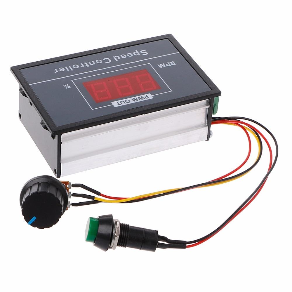 PWM DC 6-60V Motor Speed Controller 0-100 Digital Display Stepless Speed Regulation