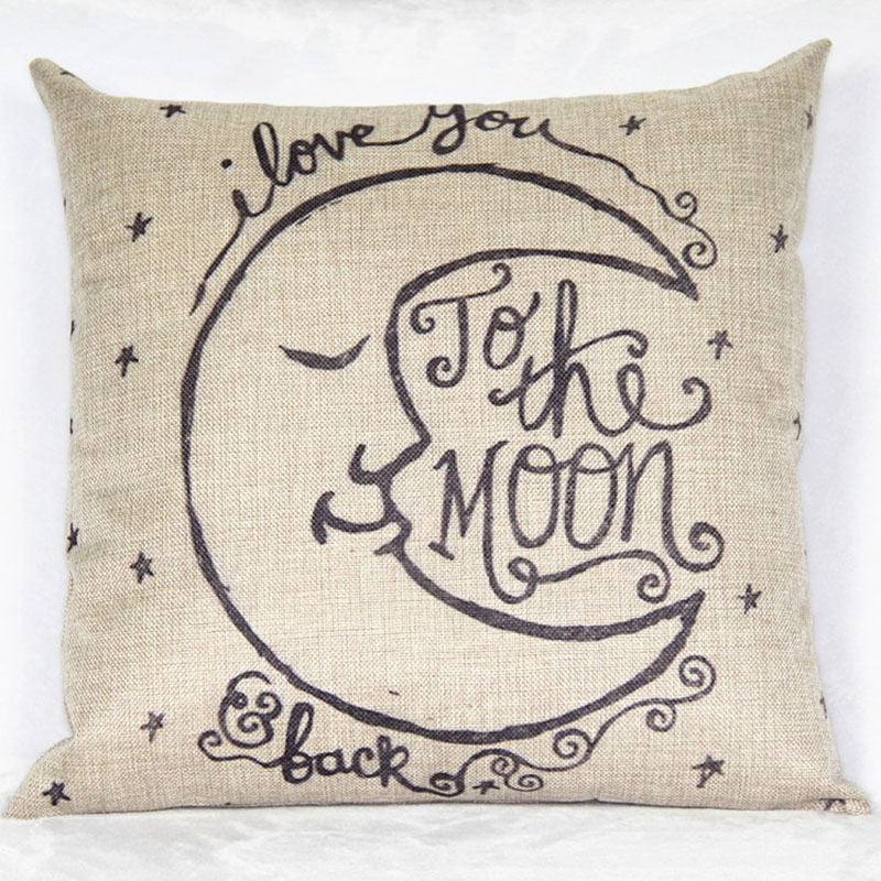 2016 Hot Retro Throw Square Pillow Case I Love You to the Moon and Back Cushion Cover cuscini vintage square cushion