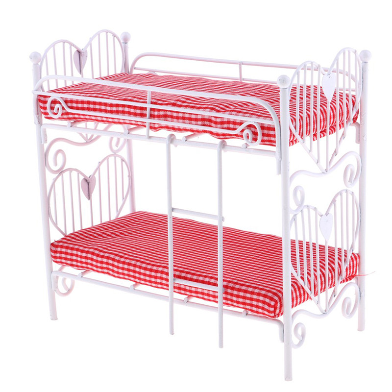 <font><b>1</b></font>:<font><b>12</b></font> Lovely Mini Dolls House Toy Two-layer Bed Furniture Toys Dollhouse Accessories Pretend Play For Girl Gift image