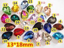 128 قطع 13*18 ملليمتر pointback الكمثرى قطرة الكريستال حجر نزوة دمعة/قطيرة بلورات الزجاج لصنع المجوهرات ، diy التبعي