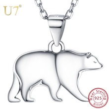 U7 925 Sterling Silver Polar Bear Animal Pendant Necklace For Women Girls Chokers Colliers Accessories Mother's Day Gift SC281 pendant polar bear 2017 new fashion glam 925 silver jewelry thomas style sterling necklace cute gift for ts soul woman