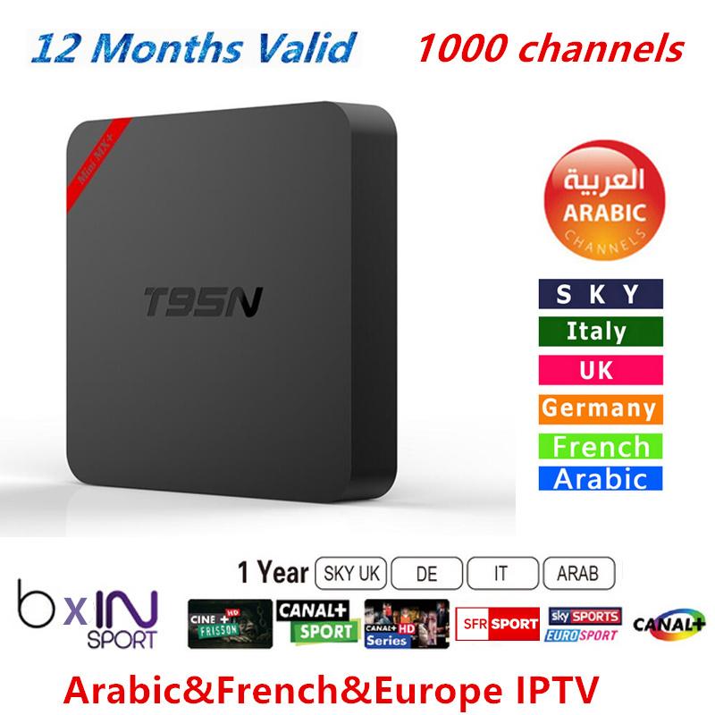 Prix pour 1 Année Livraison IPROTV Europe Français Arabe Italie IPTV 1000 Chaînes de TÉLÉVISION Canal Cine plus SFR T95N TV Box Quad Core S905 Android 5.1