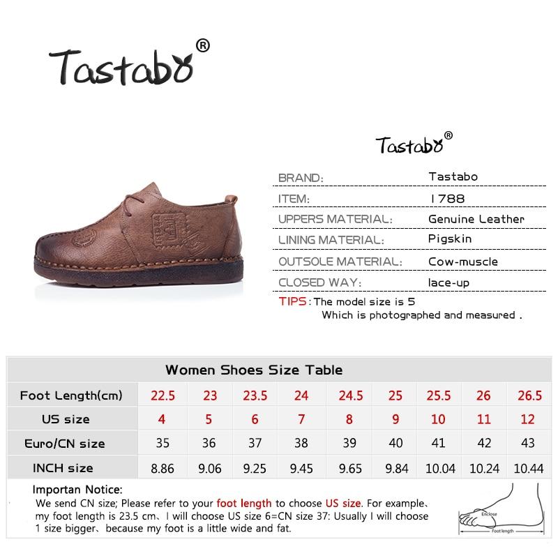 Tastabo Véritable En Cuir Plat Chaussures Femmes Enceintes Chaussures Mère Conduite Chaussures Femmes Mocassins Femmes Appartements à La Main À Coudre Chaussures - 3