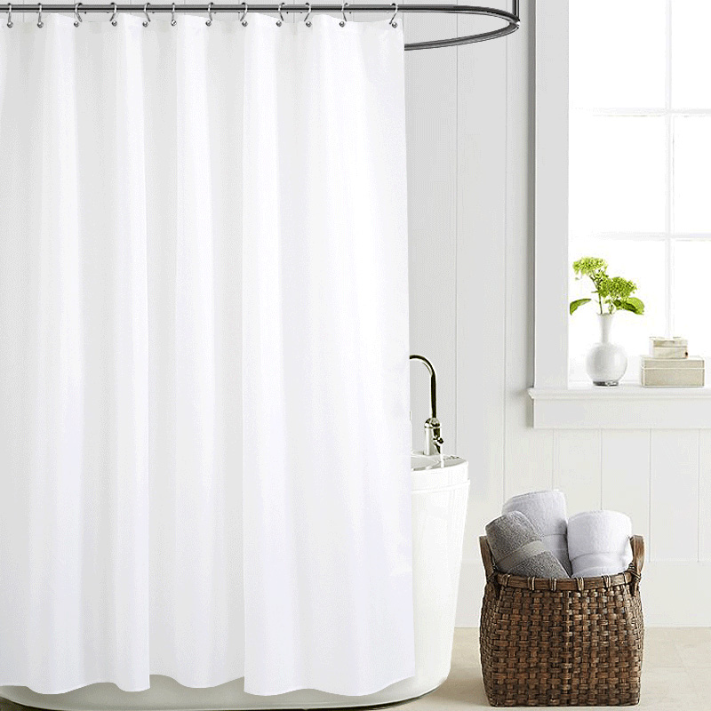 Bathroom Solid Polyester Fabric Shower Curtain Waterproof Mildew Resistant