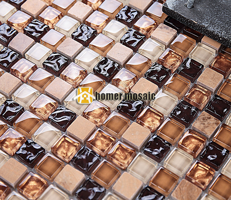 mixed brown glass mixed stone mosaic tiles for bathroom shower tiles kitchen backsplash tiles HMEE001 001 mystery brown