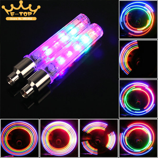 2PCS Bike Bicycle Wheel Tire Valve Cap Spoke Neon 5 LED Lights Lamp 32 change