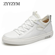 ZYYZYM Shoes Men England Style Men Casual Shoes Leather Breathable Fashion Trend Black White Men Shoes 2019 NEW High quality цена
