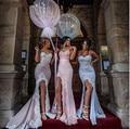 2017 Nova Moda Querida Sereia Brideamaid DressWith Lace Apliques Sexy Alta Fenda Vestido Para Casamentos