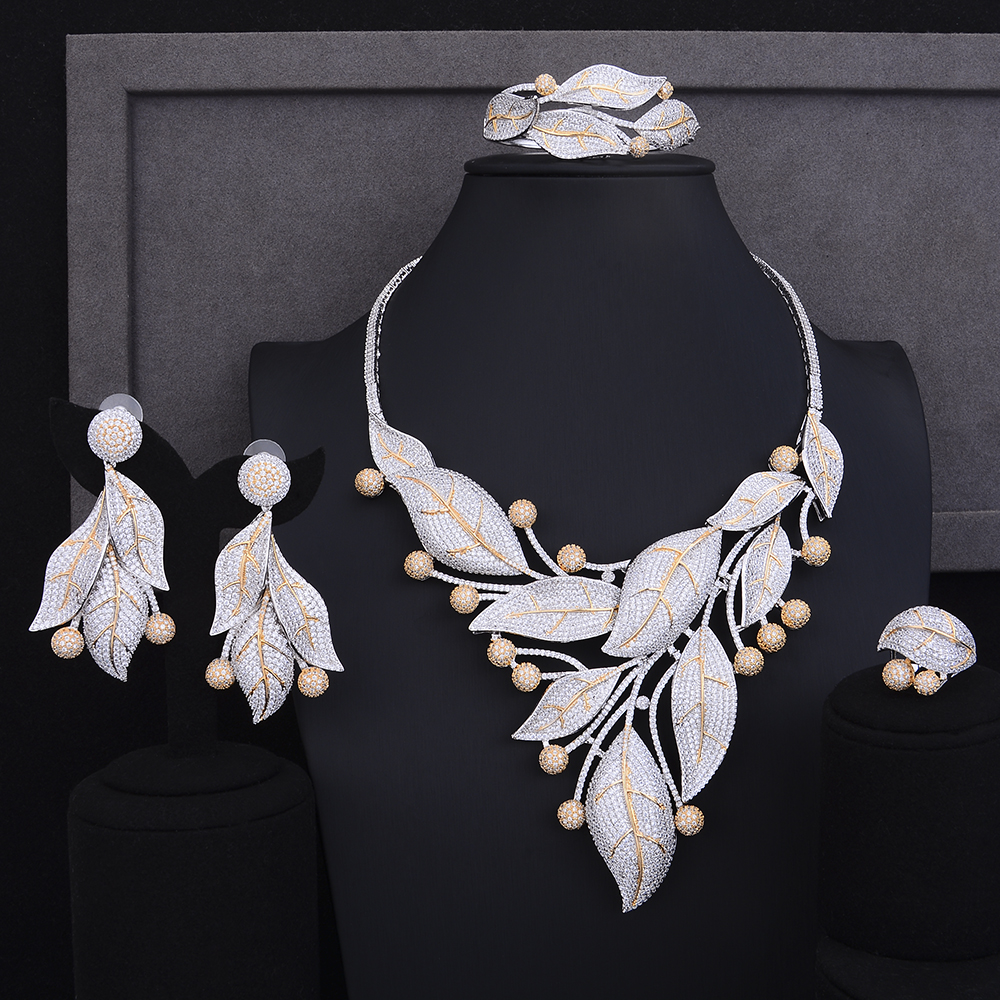 GODKI Luxury Leaves Flower Cubic Zirconia Nigerian Jewelry sets For Women Dubai Bridal jewelry sets indian Beads Jewelry Sets