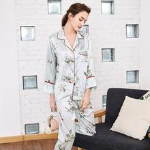 7cd8db09ef Two piece Pajama Set Satin Long Pants Sleepwear Print Floral Women Sexy  Tops Silk Nightwear Home