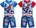 Горячая человек-паук детская одежда набор мультфильм летние дети брюки рубашка набор ребенок мальчик джинсы шорты костюм Бесплатная доставка
