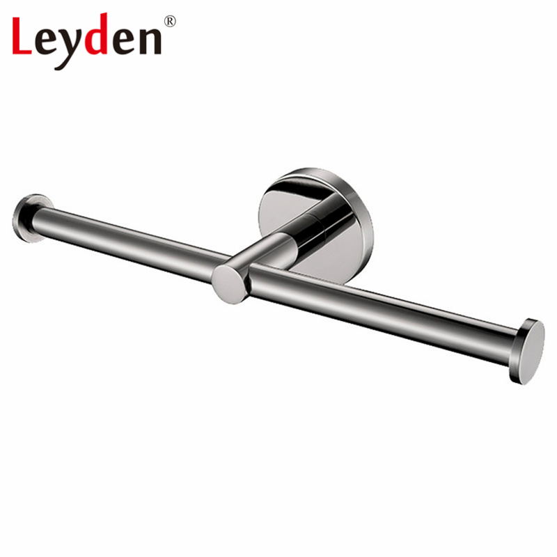 Leyden Stainless Steel Polished Chrome Wall Mounted Double Lavatory Rolling Toilet Paper Holder Dispenser Bathroom Accessories in Paper Holders from Home Improvement