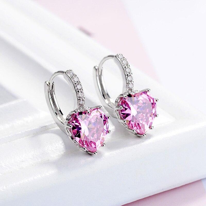 Cute Heart 9 color Pure 925 Sterling Silver Jewelry Cubic Zirconia Stone Earrings Fashion Jewelry Women Favourites Earring eh699