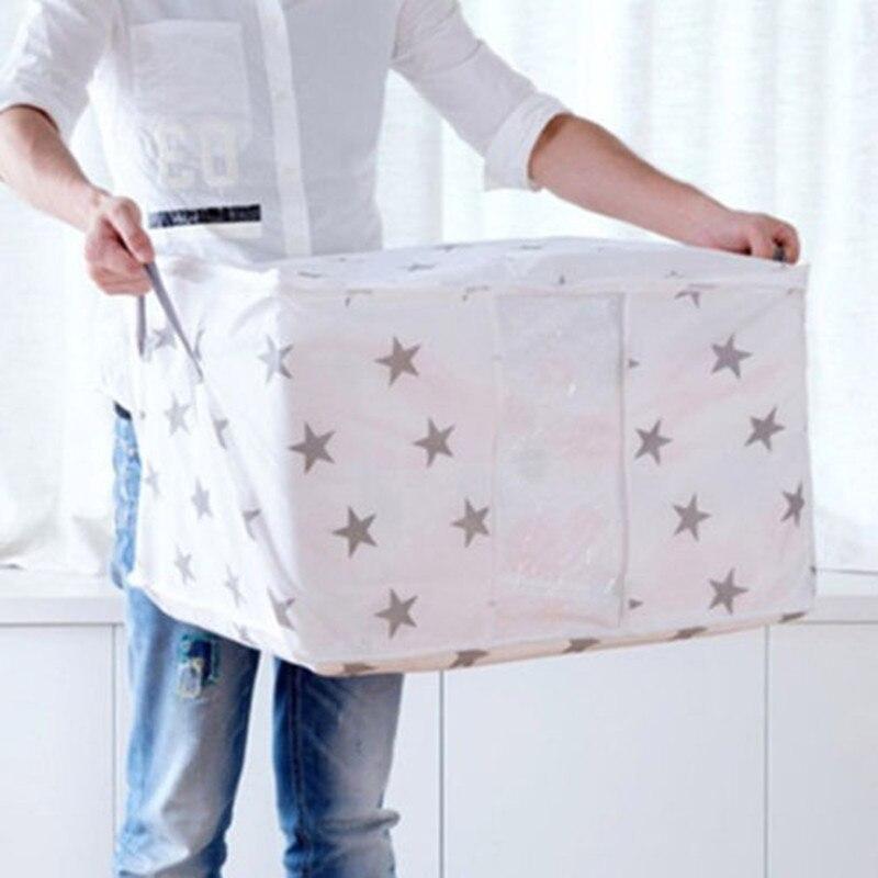 FASHION LARGE STORAGE BAG BOX JUMBO CLOTHES QUILT BEDDING DUVET LAUNDRY PILLOW ZIPPED HOME ORGANIZATION STORAGE BOXES
