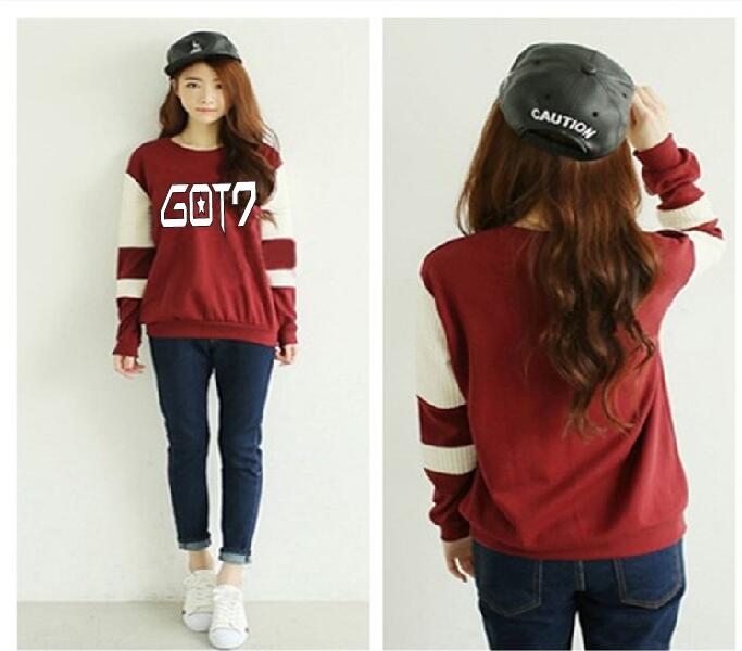 Fall clothes GOT7 New Women kpop EXO donut letters Casual Round Neck Printed Sweatshirt Hoodie exo kai layer bts