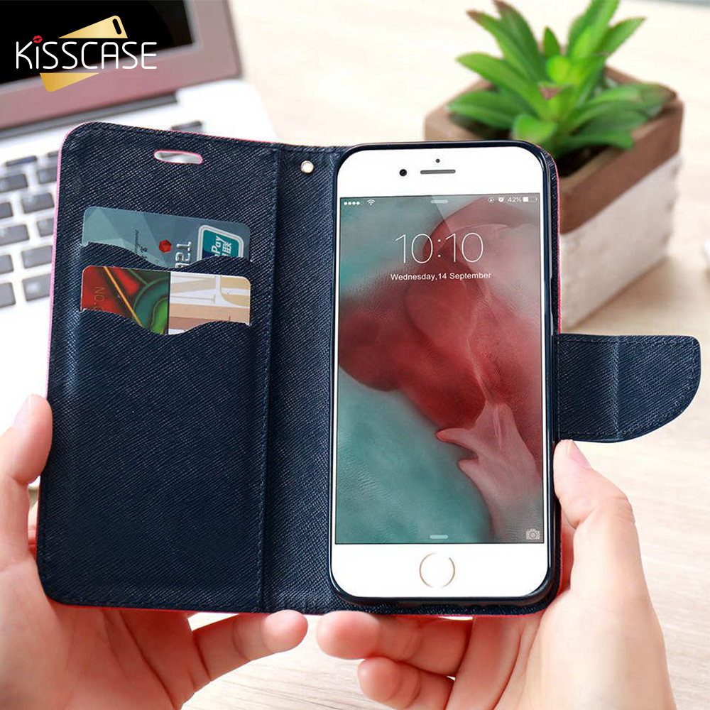 KISSCASE Stand Wallet Flip Cases For iPhone 6 6S 7 5 5S Fashion Hit Color Card Slot Leather Cover For iPhone 7 6s Plus With Logo