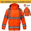 High quality Men's orange reflective jacket work wear safety jacket rain wear rain jacket with hood