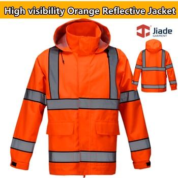 Jiade High quality Men's orange reflective jacket work wear safety jacket rain wear rain jacket with hood