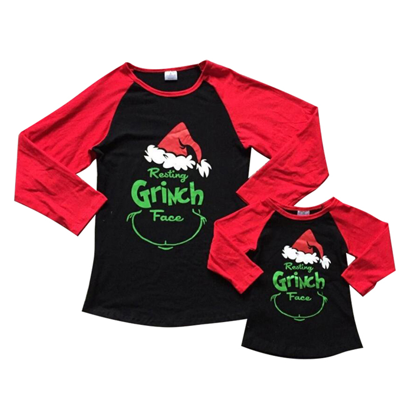 Matching Christmas Shirts For Family.Us 3 99 Christmas Family Matching Outfits Mother Daughter T Shirt Tops Long Sleeve Grinch Face Print Christmas Clothes In Matching Family Outfits