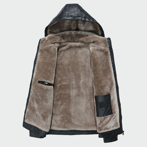 Image 4 - Mens Leather Jackets Winter Warm PU Hooded  Coats Plus Thick Windproof Biker Motorcycle Outerwear Brand Clothing M 4XL