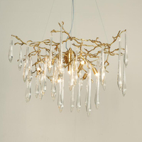 Crystal Copper Chandelie Large Artistic Branches Colored Glaze Hotel Chandelier Hotel light living room lamp