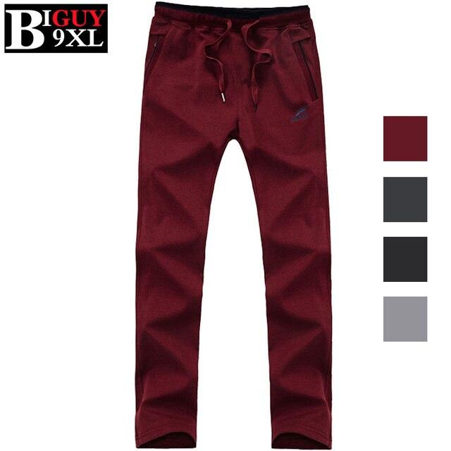 Slim Fit Красный Черный Бегунов Брюки Мужчины 2016 Весной Новый Случайный мужские Штаны 100 Хлопок Плюс Размер 5XL 6XL 7XL 8XL 9XL