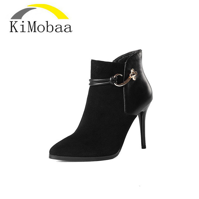 b01934d62d10 Kimobaa Sexy Woman Ankle Boots Genuine Leather Low Cut Boots Warm Thin Heel  Shoes Black Red Metal Size 34-39 Hot Sale TX49