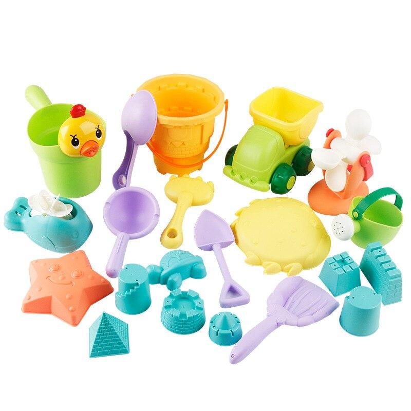 Soft Silicone Children Beach Sand Toys Castle Bucket Spade Shovel Rake Sandbox Bath Play Set Water Game Playing For Kids