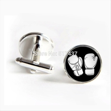 J-220 wholesale Boxing Glove Cufflinks Boxing Cuff Link Silver Glass Cuff Shirt Cufflinks For Mens