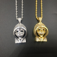 Hiphop Jewelry bling bling vendetta mask face pendants necklace for street boys cz zircon inlay copper alloy iced out necklaces