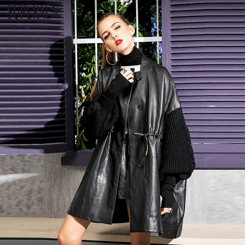SuperAen New Fashion Leather   Trench   Coat for Women New Spring and Autumn 2018 Ladies Windbreaker Europe Wild Leather Coats