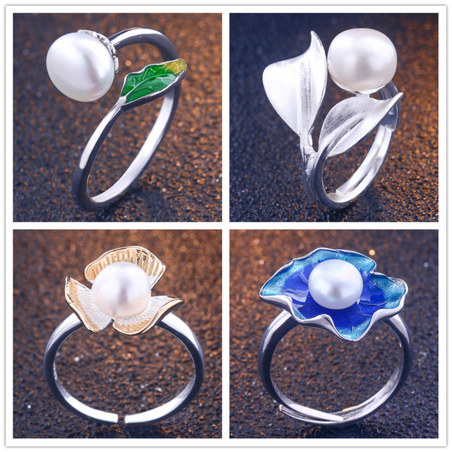 TONGLiN Genuine 925 Sterling SilverJewelry natural flowers birds adjustable golden ring vintage handmade finger rings as gifts