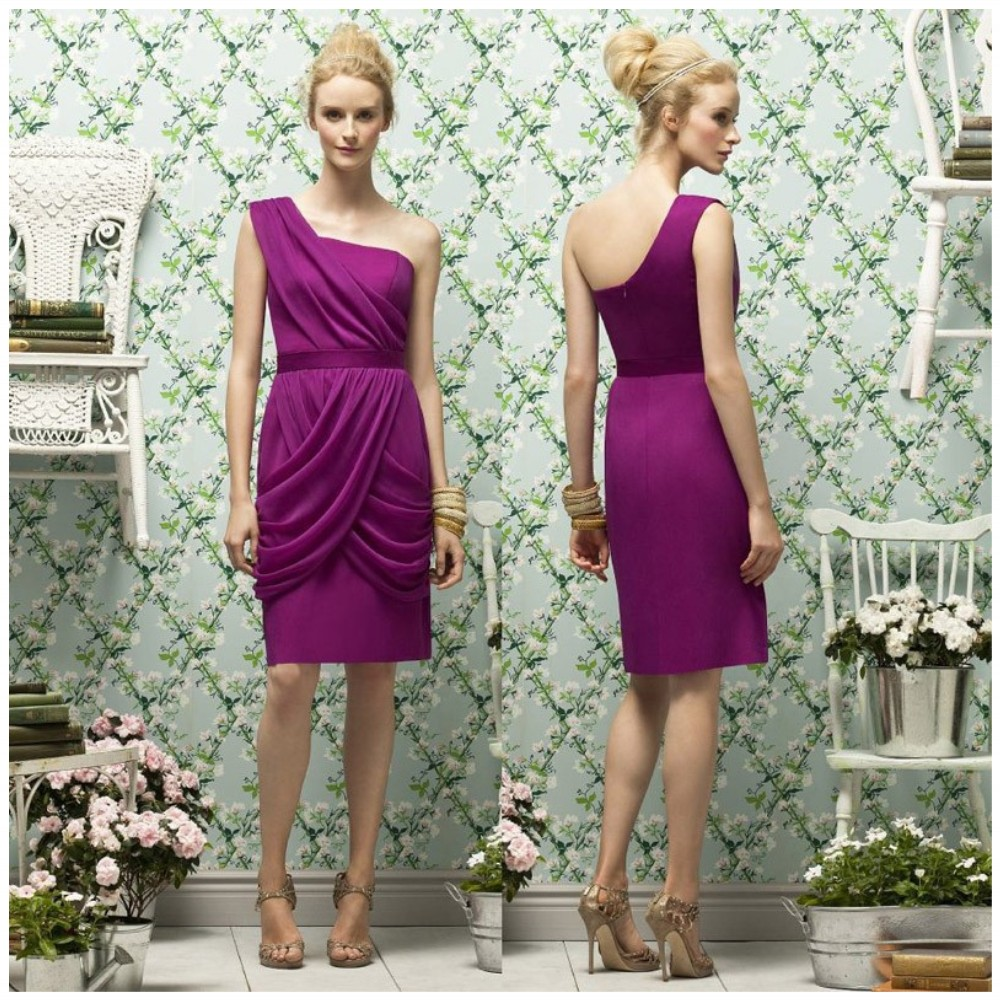 Online buy wholesale fast delivery bridesmaid dresses from china fashion purple one shoulder personality fold waist band knee length bridesmaid dresses fast delivery ombrellifo Image collections