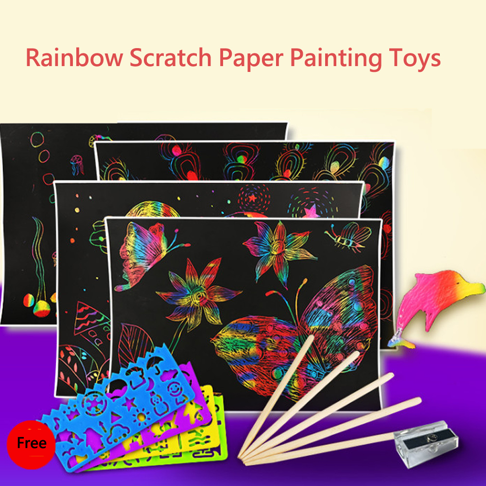 DIY Handmade Scratch Paper Painting Toys Magic Colorful Drawing Board Scraping Paper Painting Art Craft Toys For Children Gifts