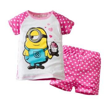 New 2020 Boys Girls Pajamas Set Children Cotton Summer Short-sleeved Kids Minion Cartoon Patten T shirt + Shorts 2pcs Pijama
