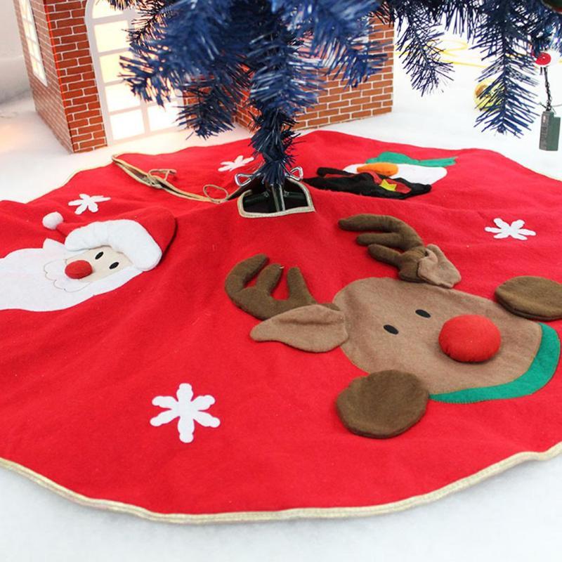 Saia vestido de Festa Tapete vermelho Da Árvore de Natal Enfeites de Decoração para Casa Não-tecido de Natal Saia Da Árvore de Natal Aventais 78- 100 cm